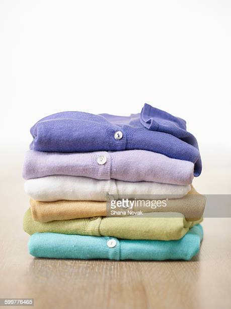 stack of cashmere cardigans - wool stock pictures, royalty-free photos & images