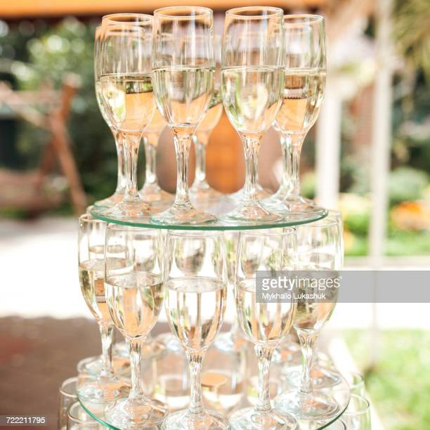 Stack of champagne in champagne flutes