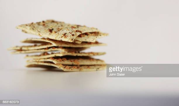 Stack of cheese crackers