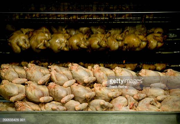 Stack of chicken carcasses at butcher shop
