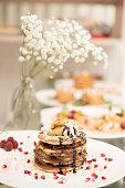 stack chocolate banana pancakes