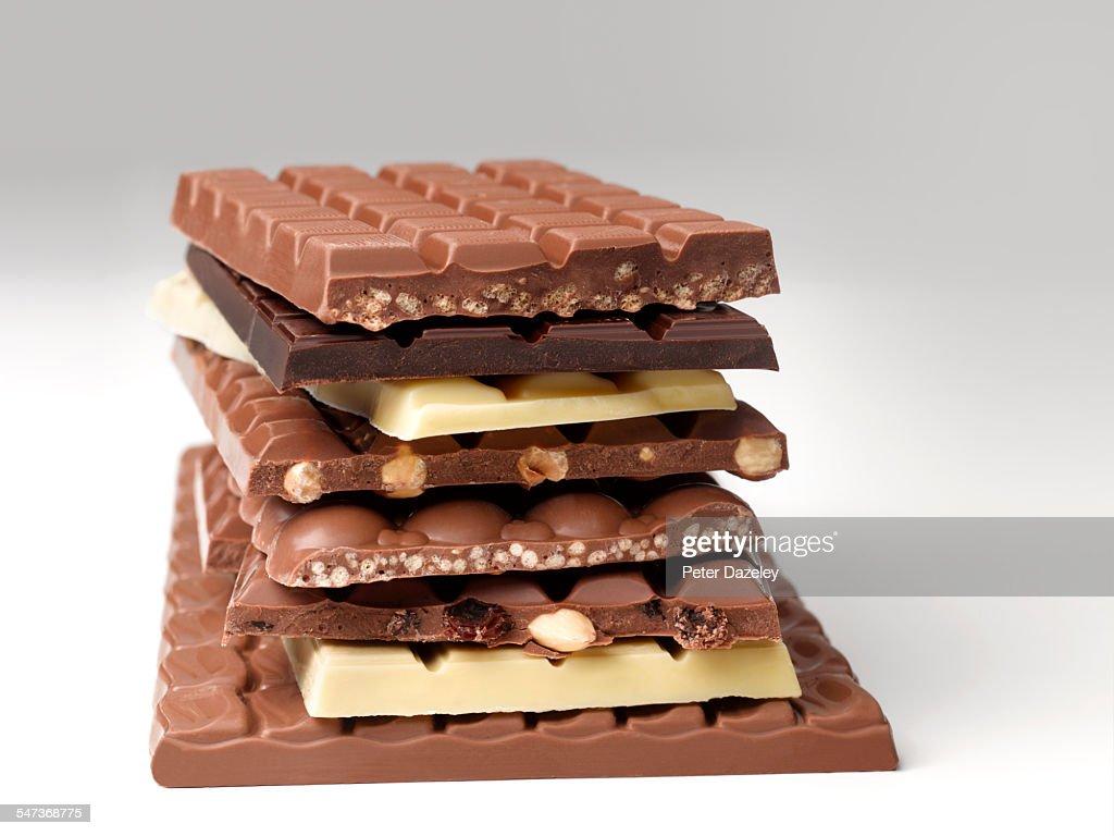 Stack of chocolate bars : ストックフォト