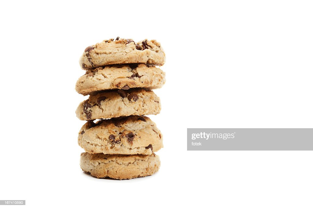 Stack of chocolate chip cookies : Stock Photo