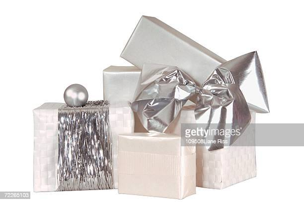 Stack of Christmas gifts, close-up