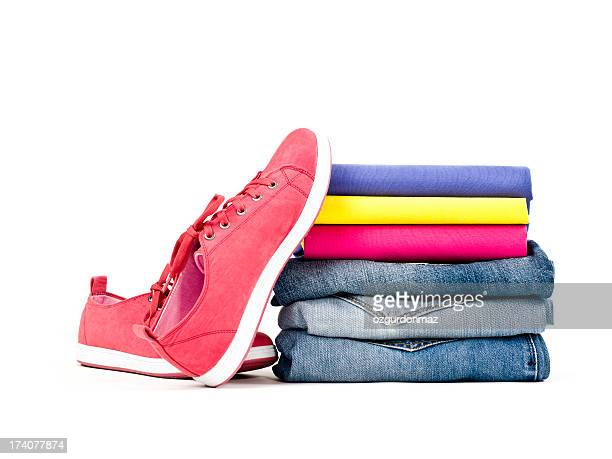 Stack of clothes and shoes
