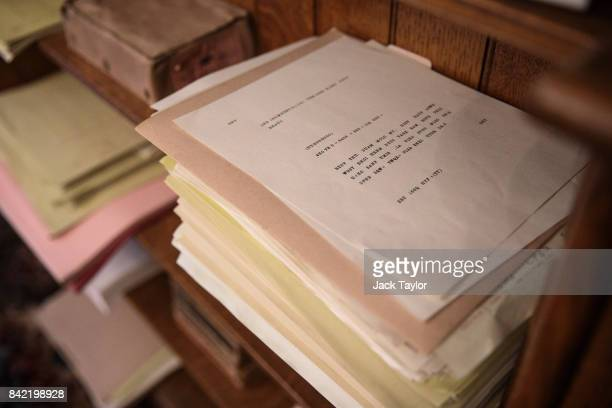 A stack of coded messages sit on a shelf in The Library in Bletchley Park Mansion recreated to show how it looked when it was used as a Naval...