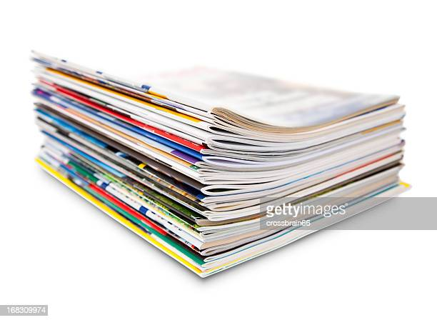 stack of color magazine - stack stock photos and pictures