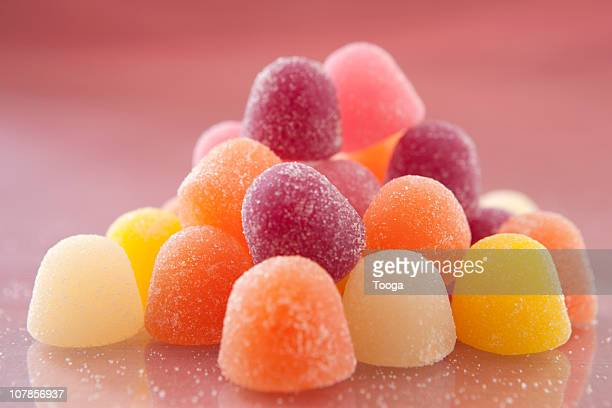 Stack of colorful and sugary gumdrops