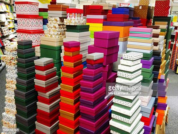 Stack Of Colorful Boxes On Floor