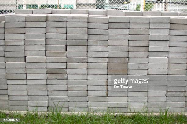 Stack of concrete bricks outdoor