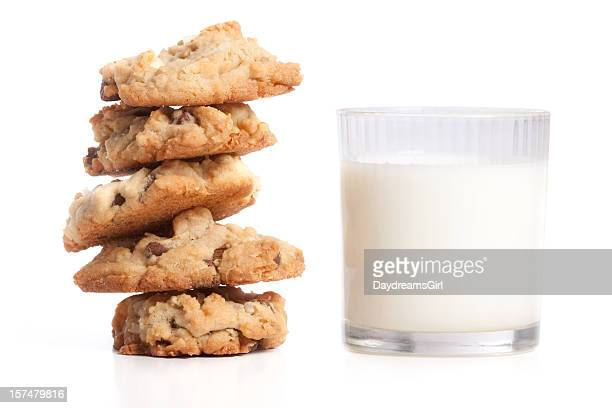 Stack of Cookies and Milk Isolated on White Background