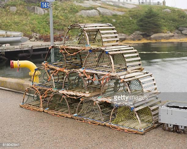 Stack of crab pots at riverside