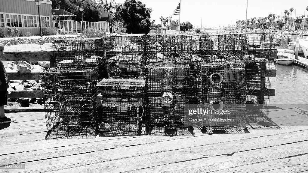 Stack Of Crab Pots On Harbor : Stock Photo