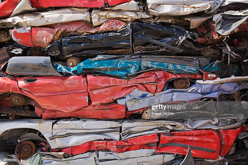 Stack of crushed cars : Stock Photo