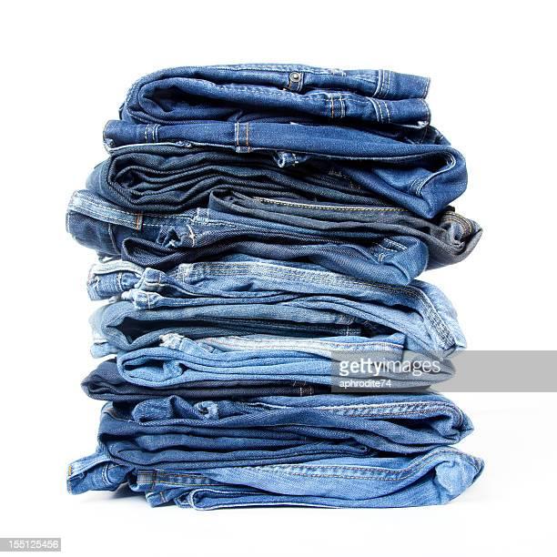 pilha de denim - jeans calça comprida - fotografias e filmes do acervo
