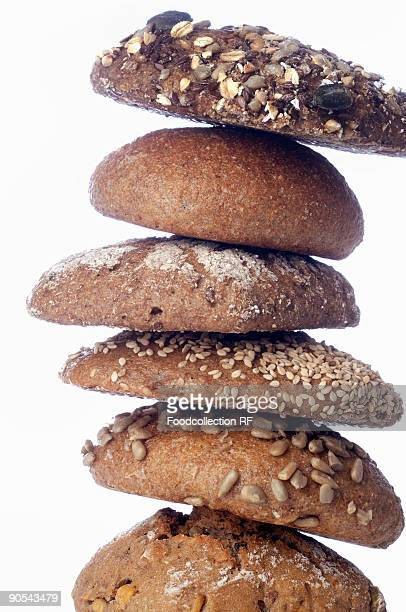 Stack of different types of wholegrain bread, close up