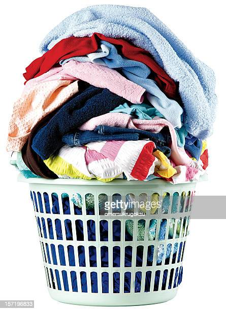A stack of dirty laundry in a basket