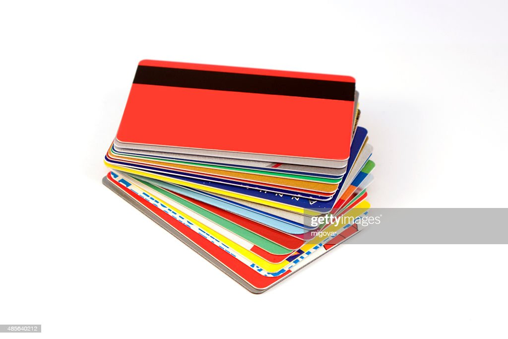 stack of discount cards isolated on white background with shadows : Stock Photo