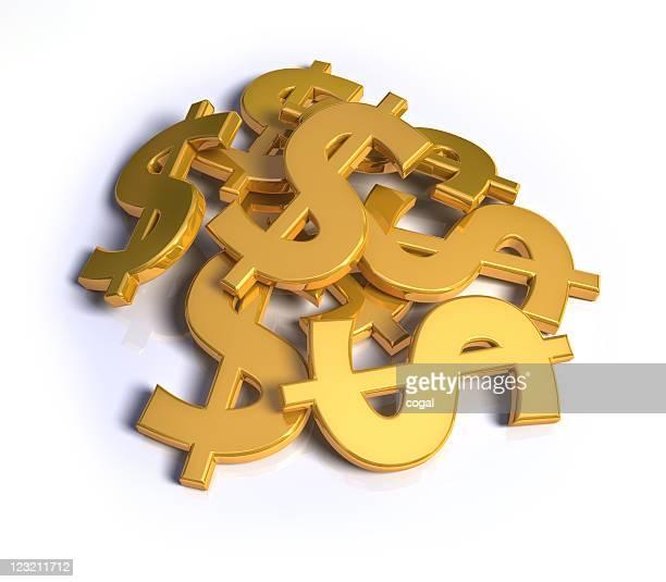 Pila de dólar símbolos