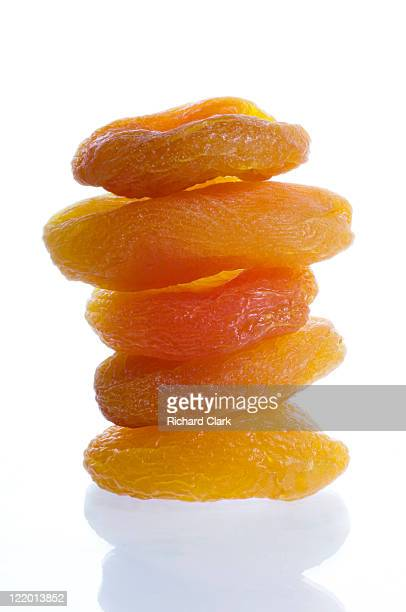 A stack of dried apricots