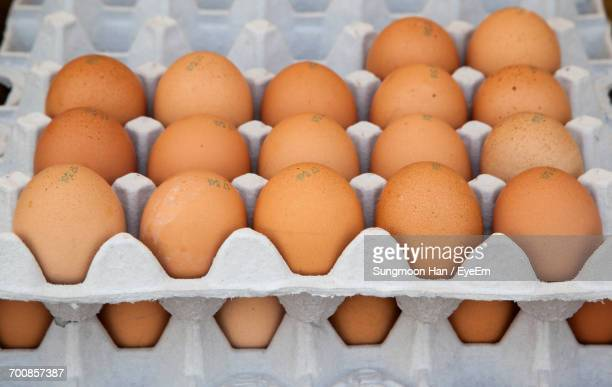 Stack Of Eggs At Display For Sale