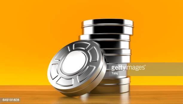 Stack of film reels