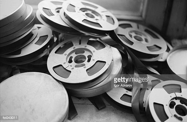 A stack of film reels