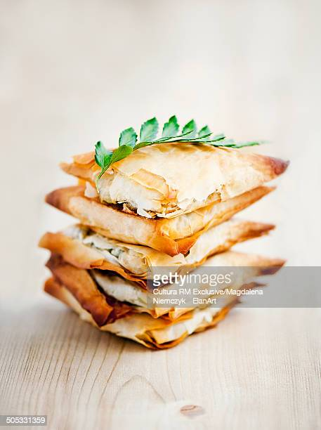 Stack of filo pastry parcels