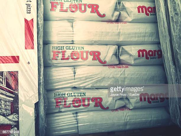 Stack Of Flour Sacks At Warehouse