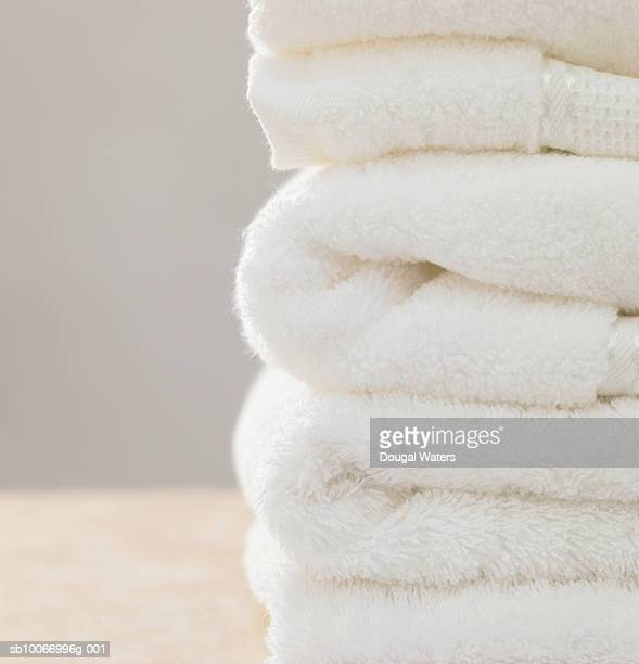 Stack of folded towels, close-up