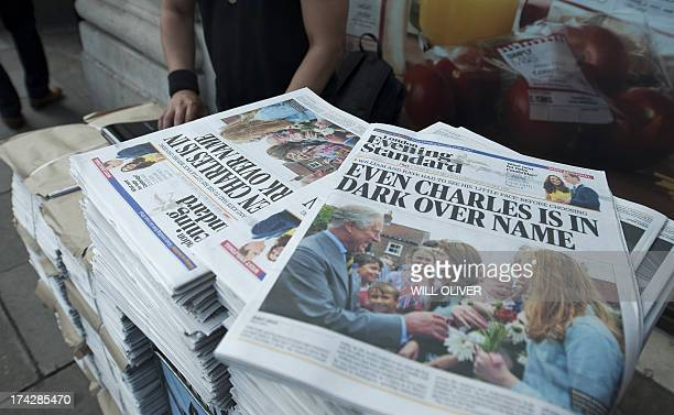 A stack of free London newspapers report news of the birth of a new royal baby in London on July 23 2013 International messages of congratulations...
