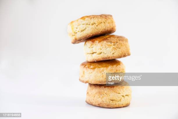 stack of fresh buttermilk biscuits - bread stock pictures, royalty-free photos & images