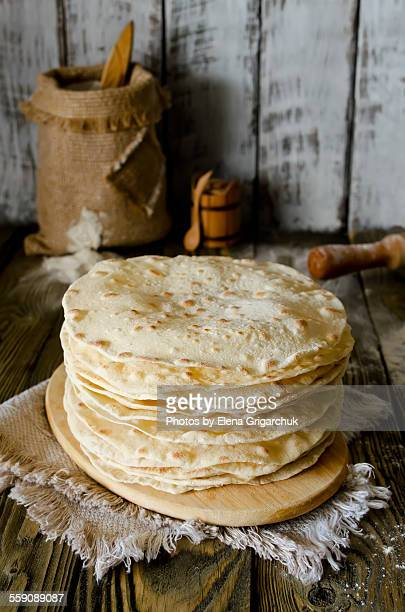 A stack of freshly made flour tortilla's