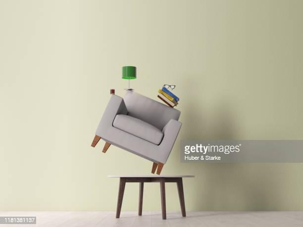 stack of furnitures - gleichgewicht stock-fotos und bilder