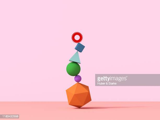 stack of geometric shapes - group of objects stock pictures, royalty-free photos & images