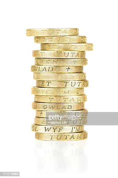 Stack of gold, one pound coins