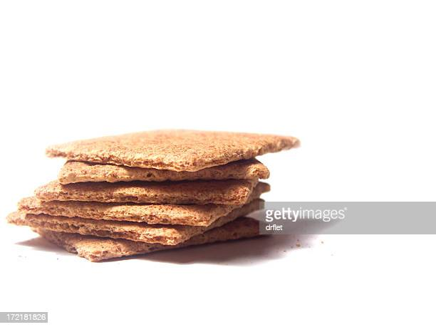 Stack of Graham crackers on a white background