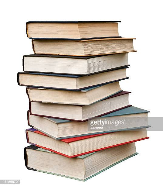 stack of hardcover books isolated