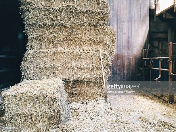Stack Of Hay Bales In Barn
