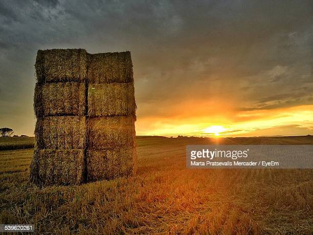 Stack Of Hay Bales On Field Against Cloudy Sky At Sunset