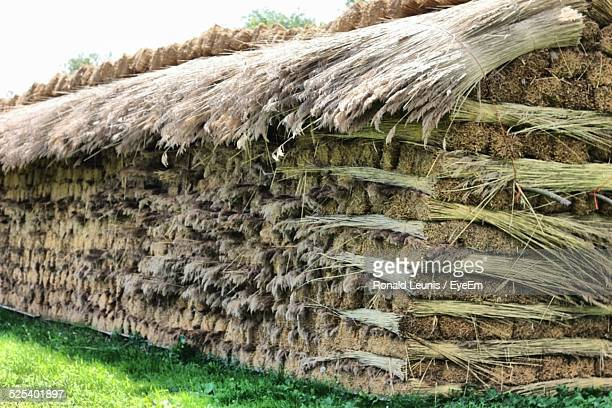 Stack Of Hay Bales On Field