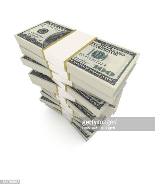 stack of hundred american dollars - dollar sign stock pictures, royalty-free photos & images