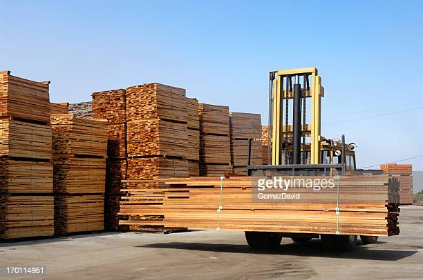 Stack of Just Milled Redwood Lumber Being Moved