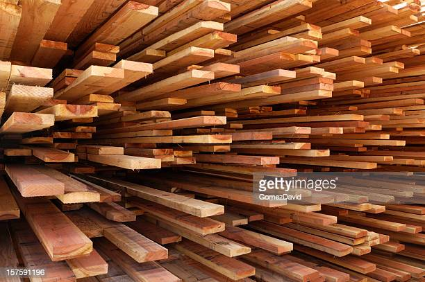 Stack of Just Milled Redwood Lumber