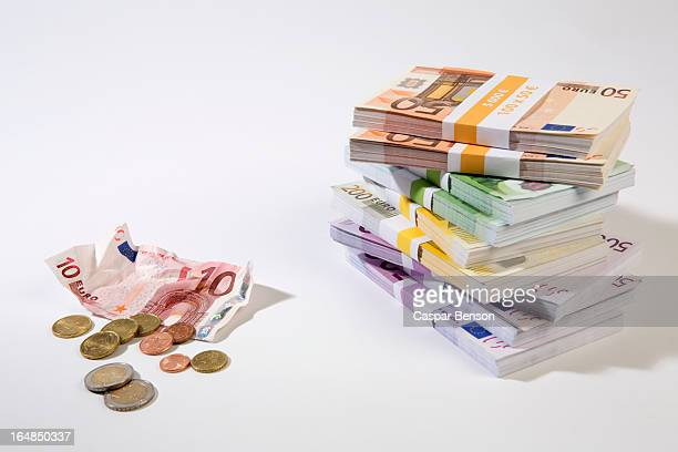 Stack of large billed Euro banknotes next to a crumpled ten note and change