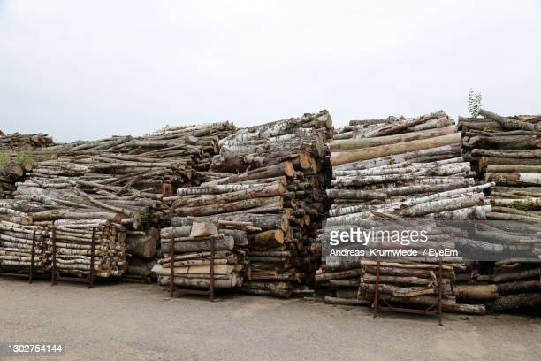 stack of logs against sky - district heating plant stock pictures, royalty-free photos & images