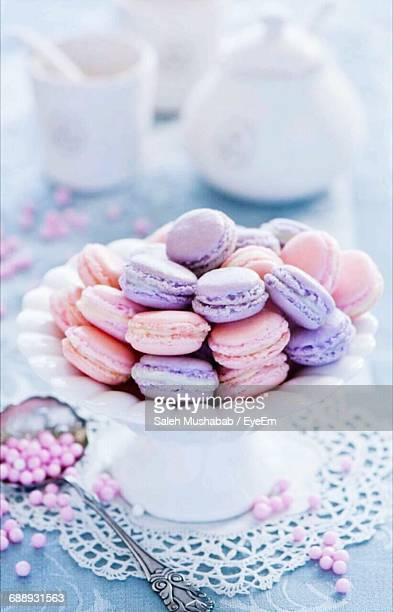 Stack Of Macaroons On Plate