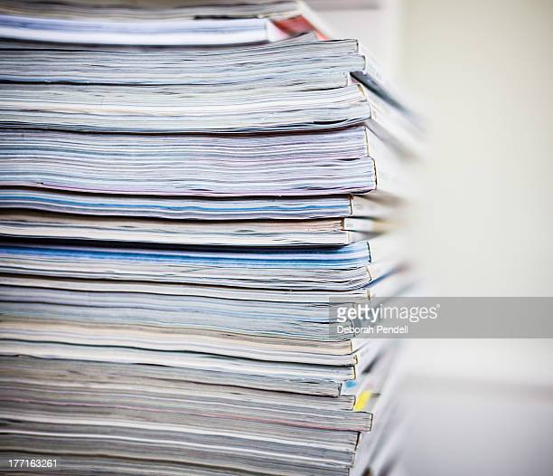 stack of magazines - magazine stock pictures, royalty-free photos & images