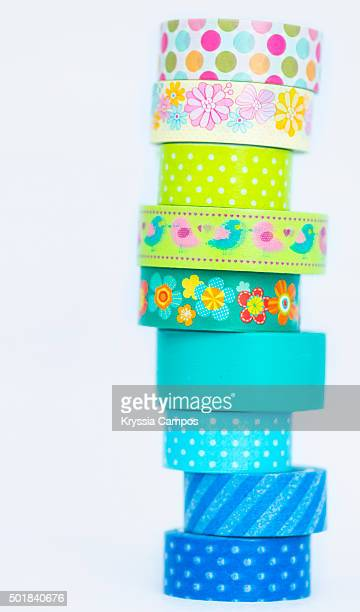 A stack of masking tape for crafts