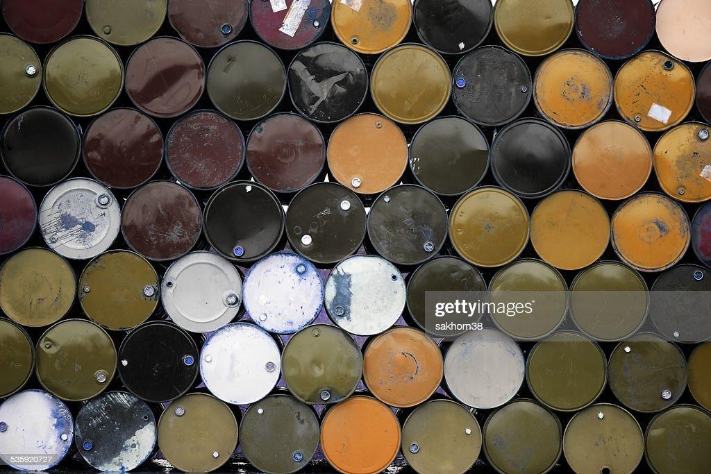 stack of metal barrel. : Stock Photo